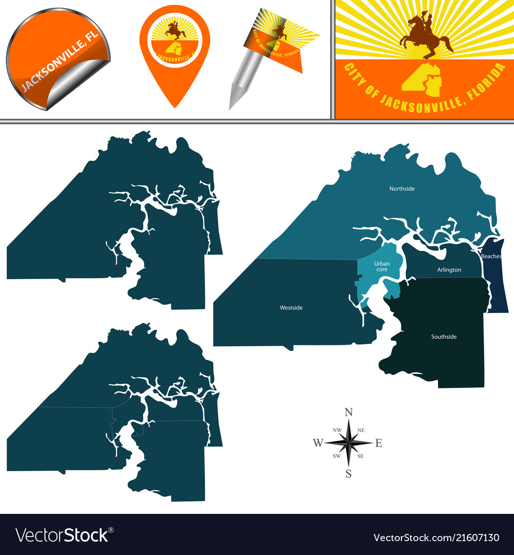 Map of jacksonville fl with neighborhoods Vector Image