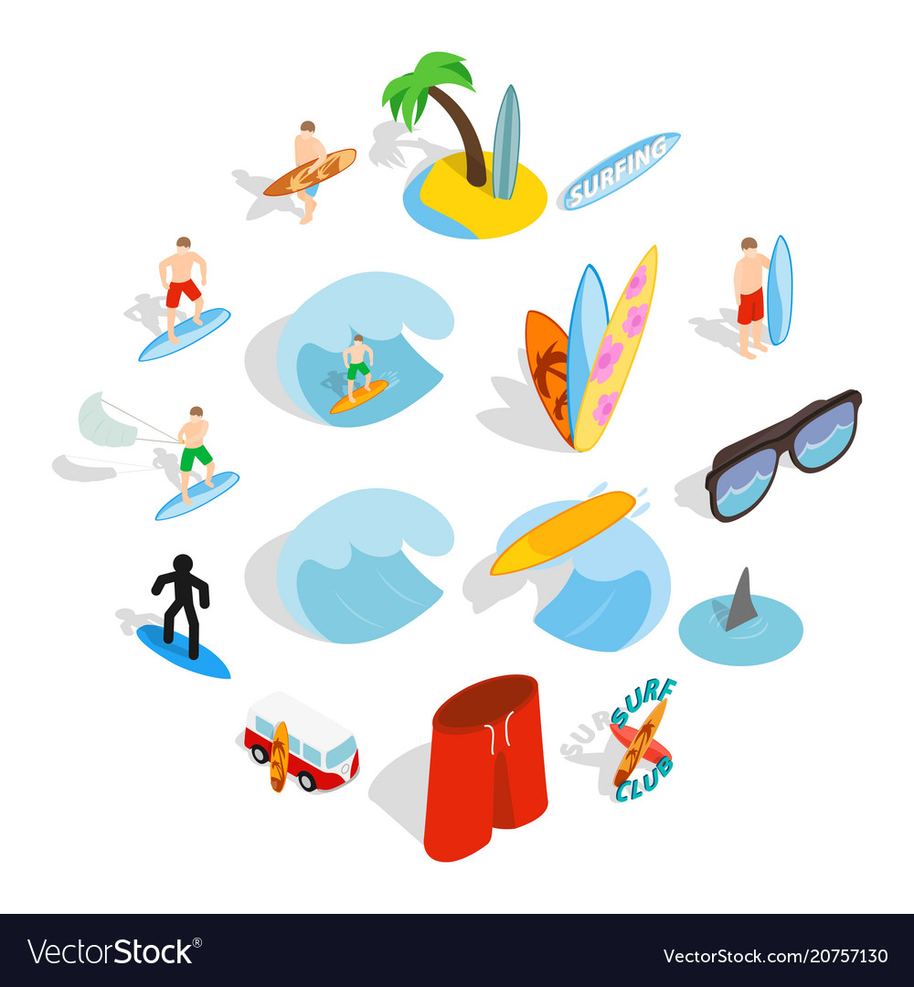 Surfing isons set isometric 3d style