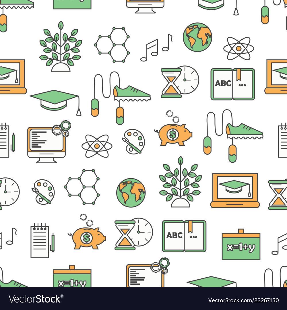 Thin line art school seamless pattern