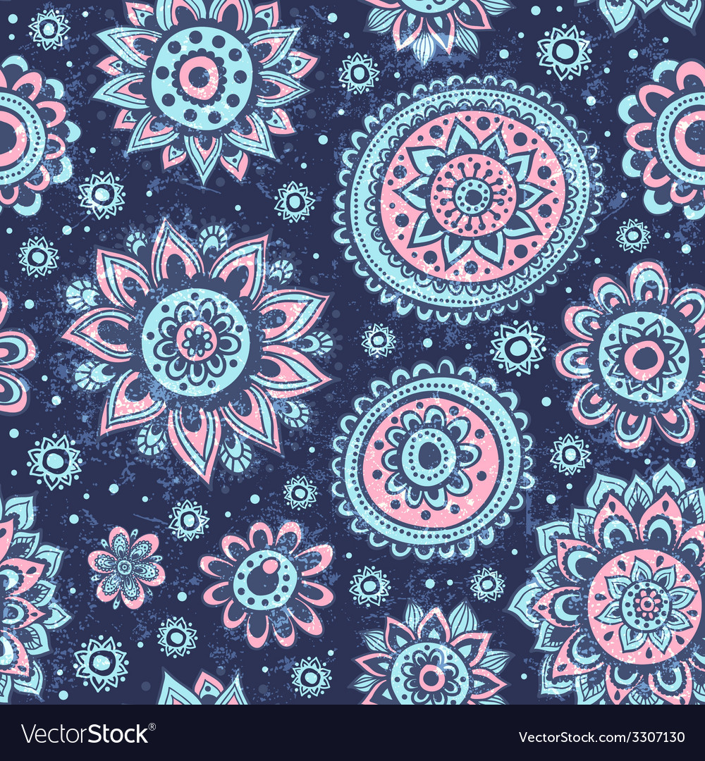 Vintage Christmas seamless pattern with flowers