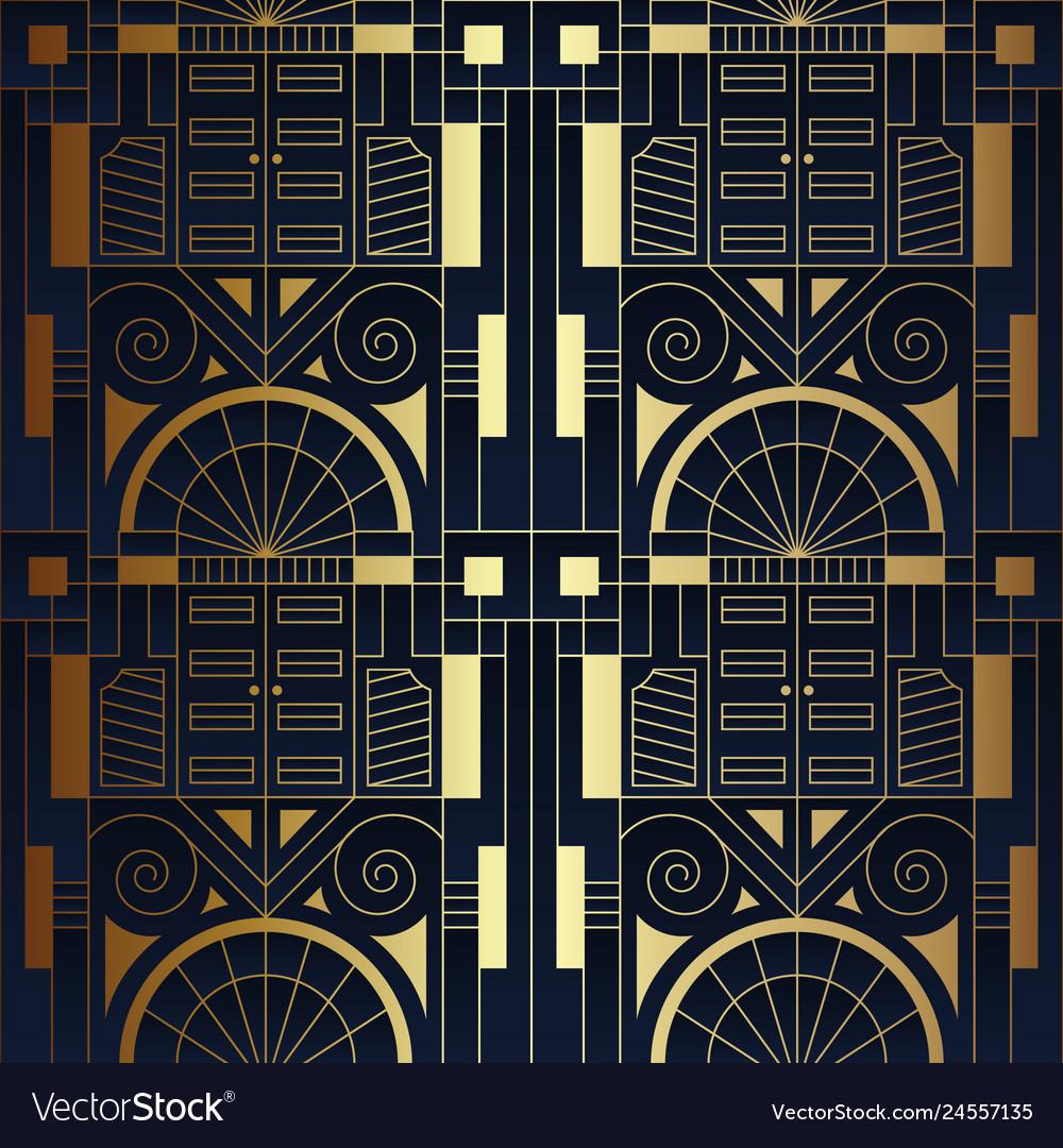 Abstract art luxury dark seamless blue and golden