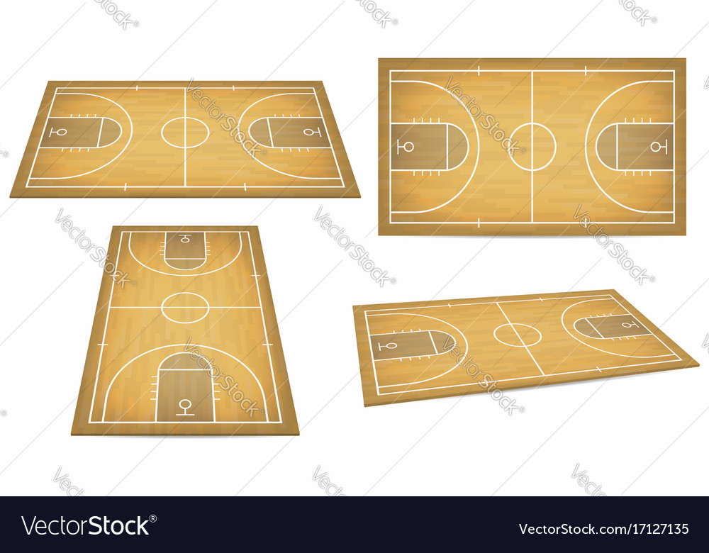 Basketball court with wooden floor view from