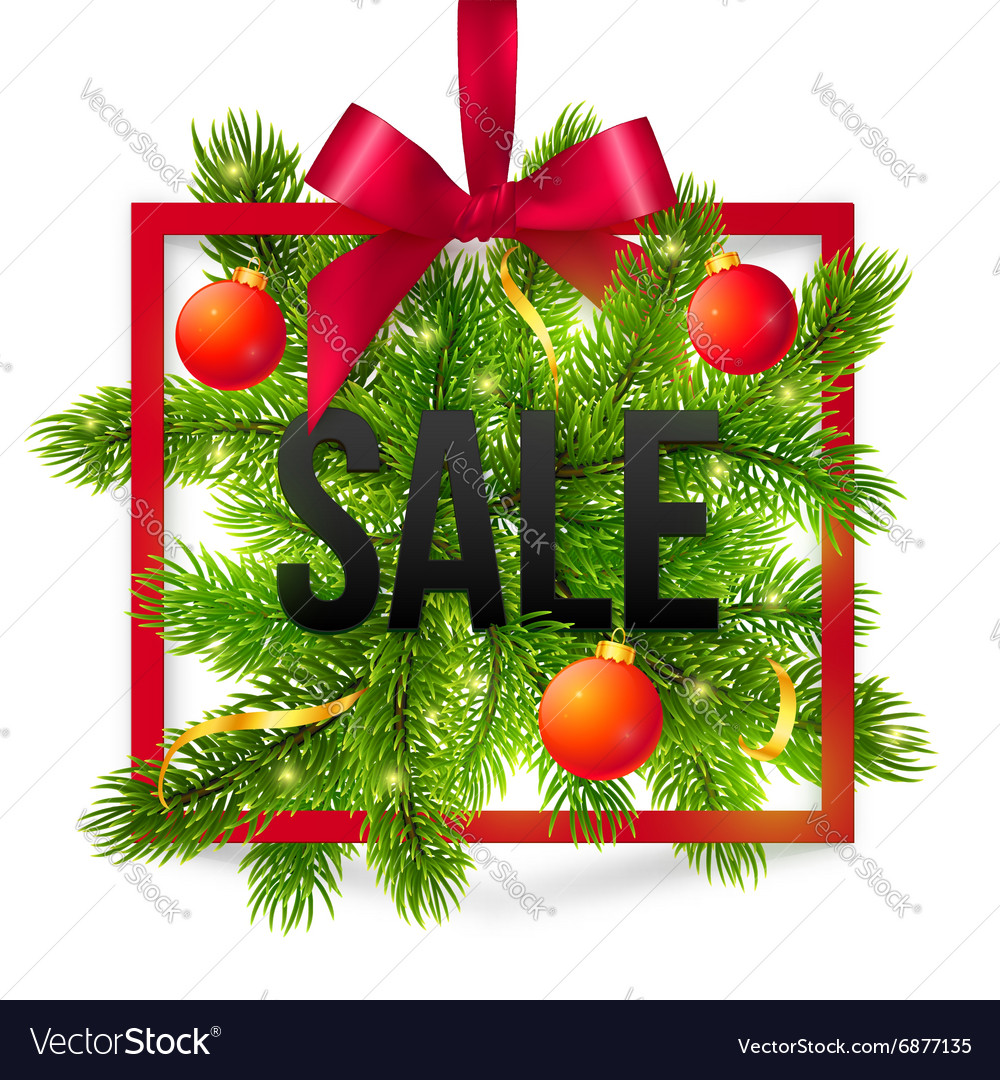 Black winter sale sign with red ribbon green fir