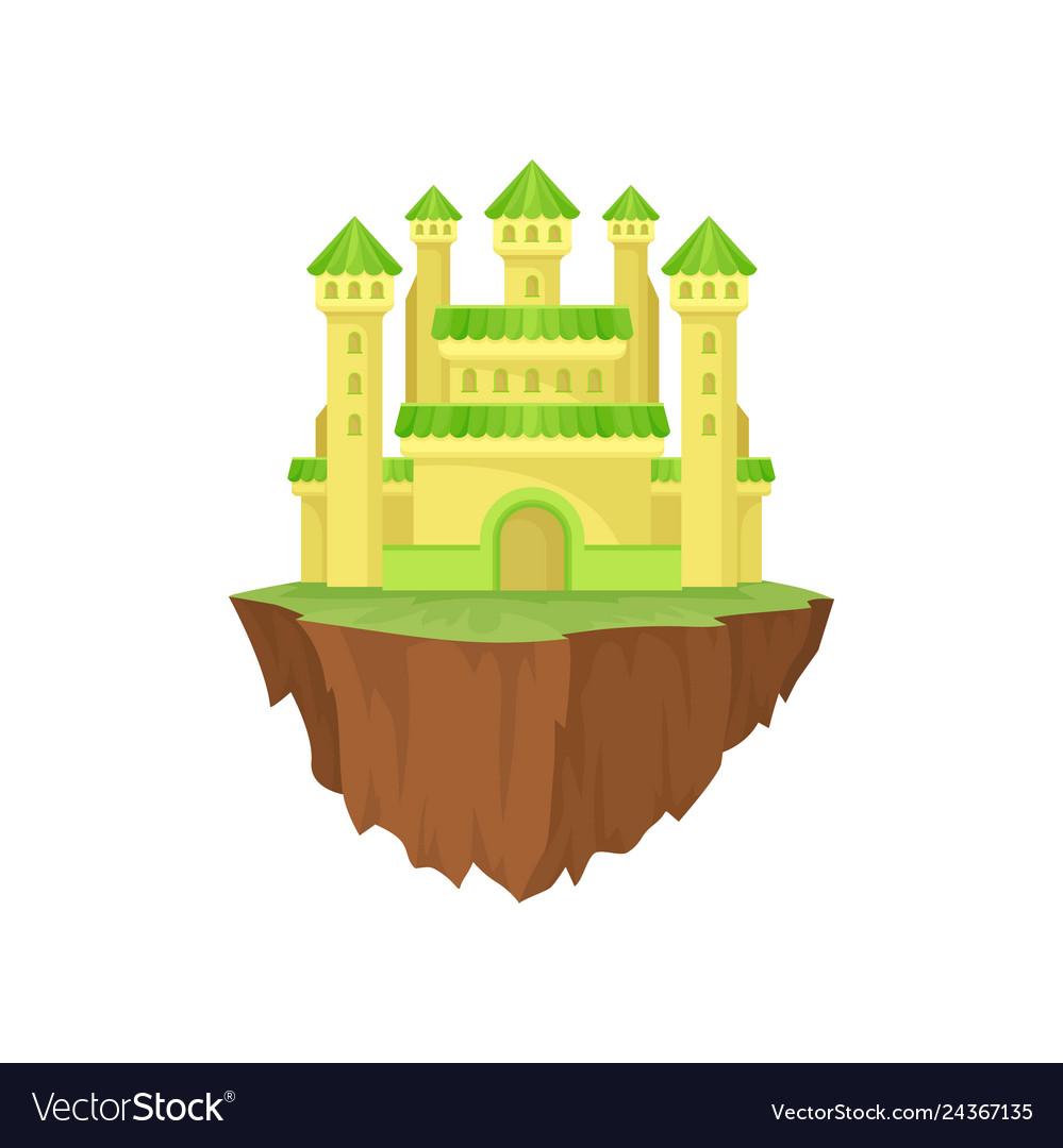 Cartoon colorful island castle on white background