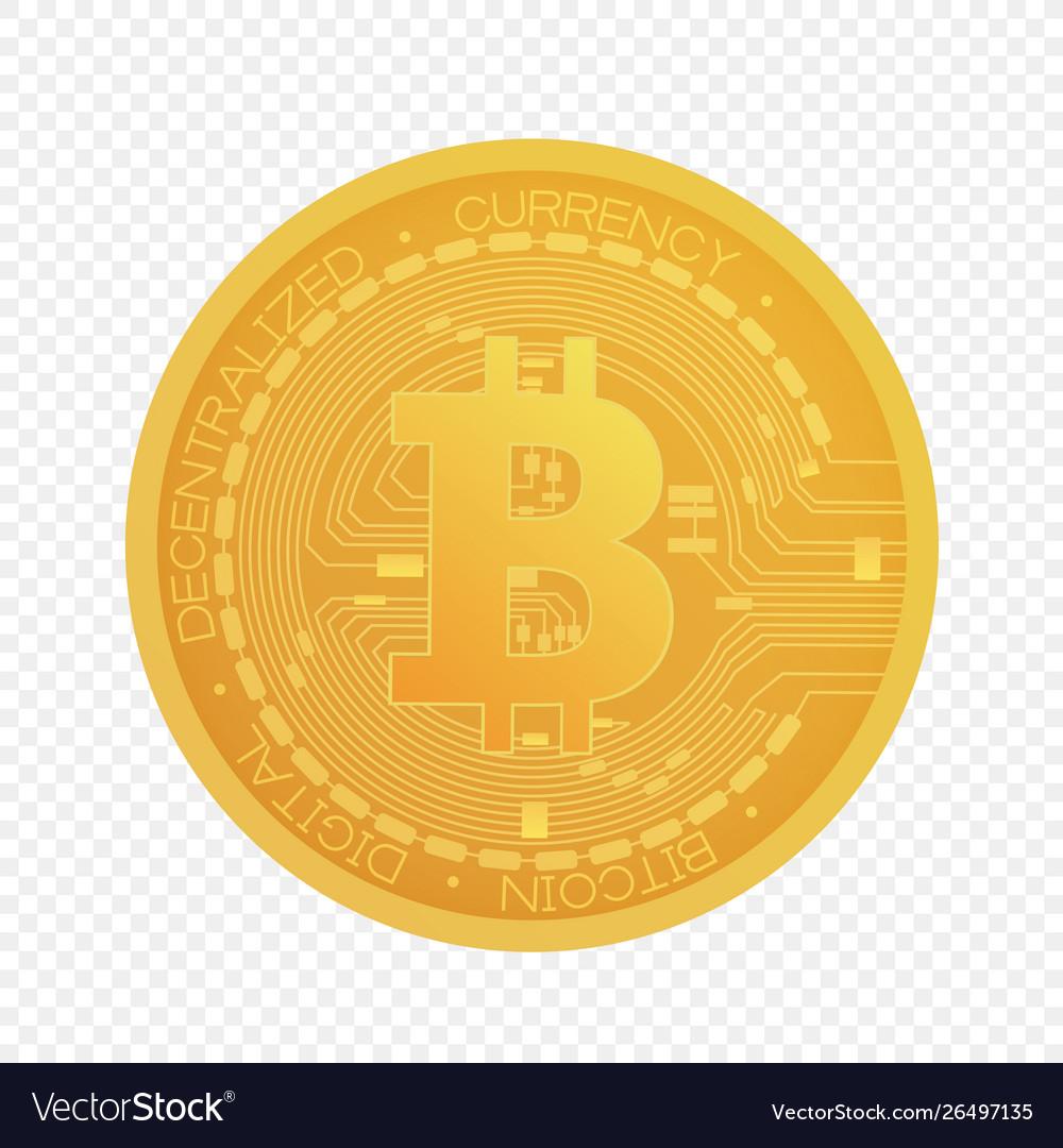 Cartoon golden bitcoin coin isolated on