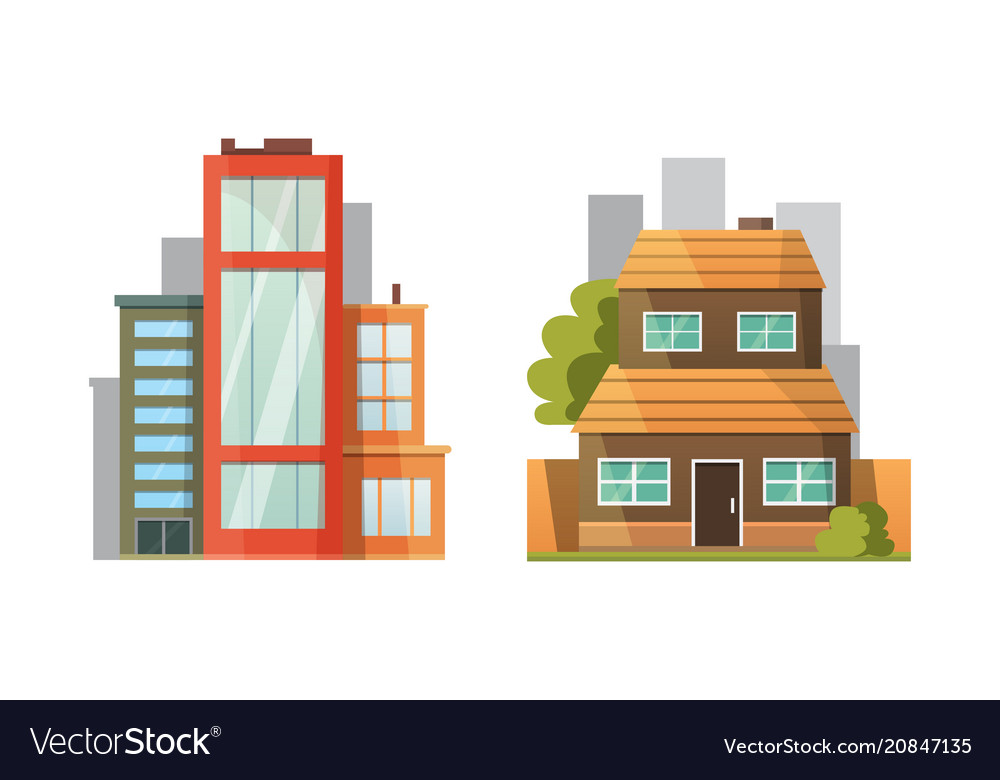 Flat design of retro and modern city houses old