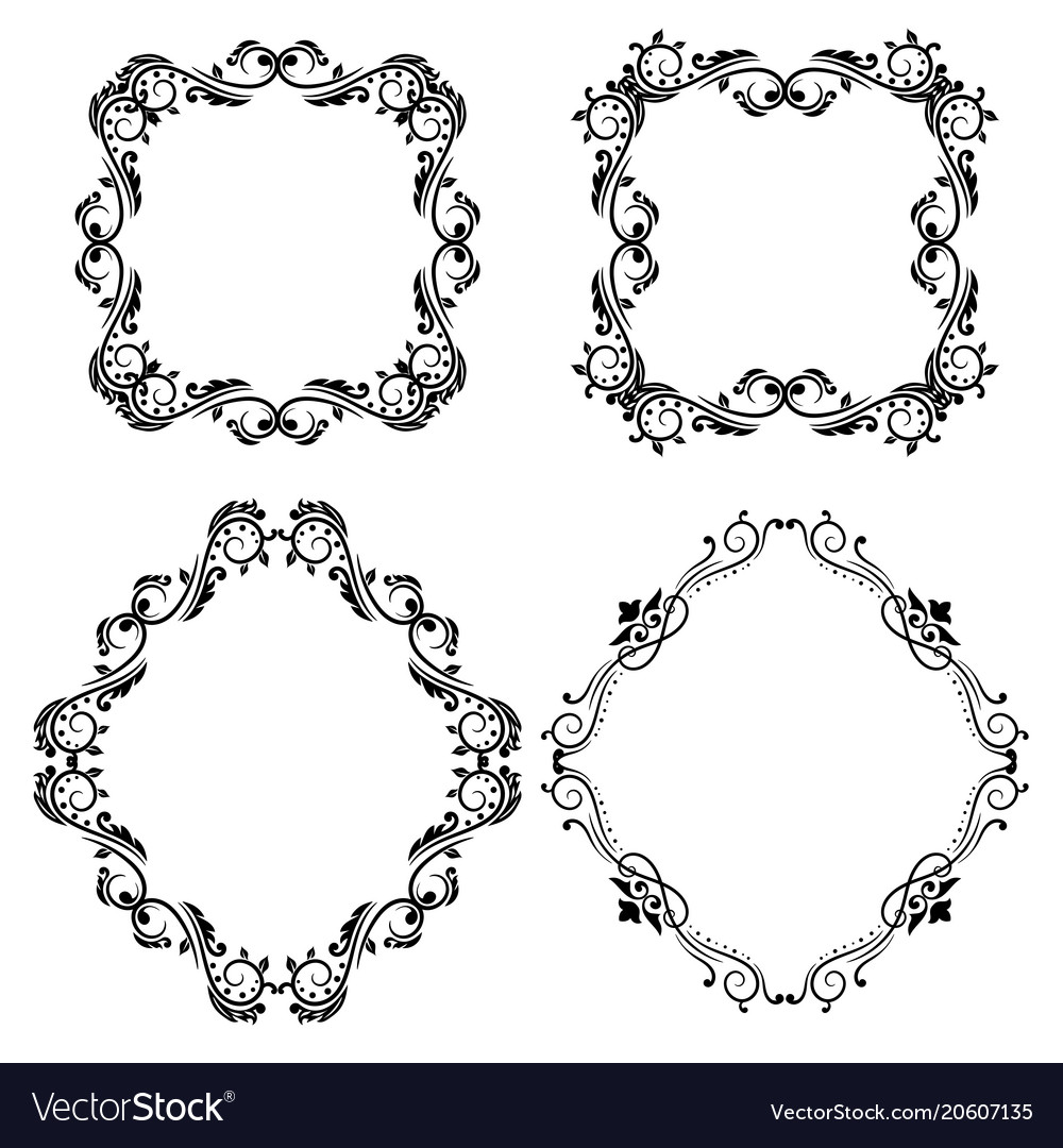 Geometrical shape ornaments vintage black frames Vector Image