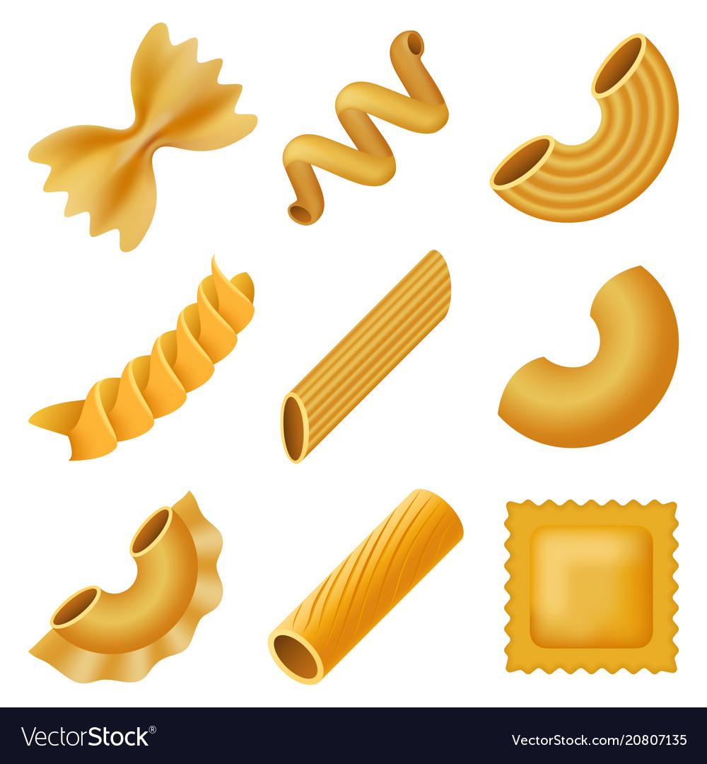 Macaroni pasta spaghetti mockup set realistic