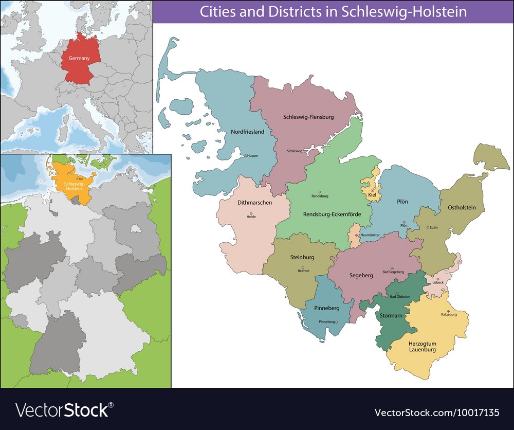 Map Of Germany With States And Cities.Map Of Schleswig Holstein