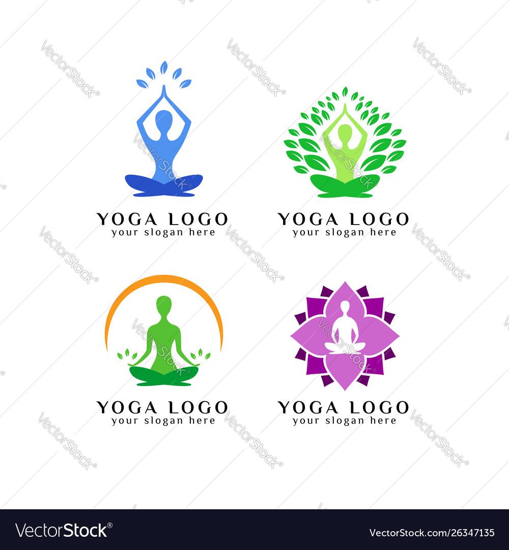 meditation logo design template yoga logo design vector image vectorstock