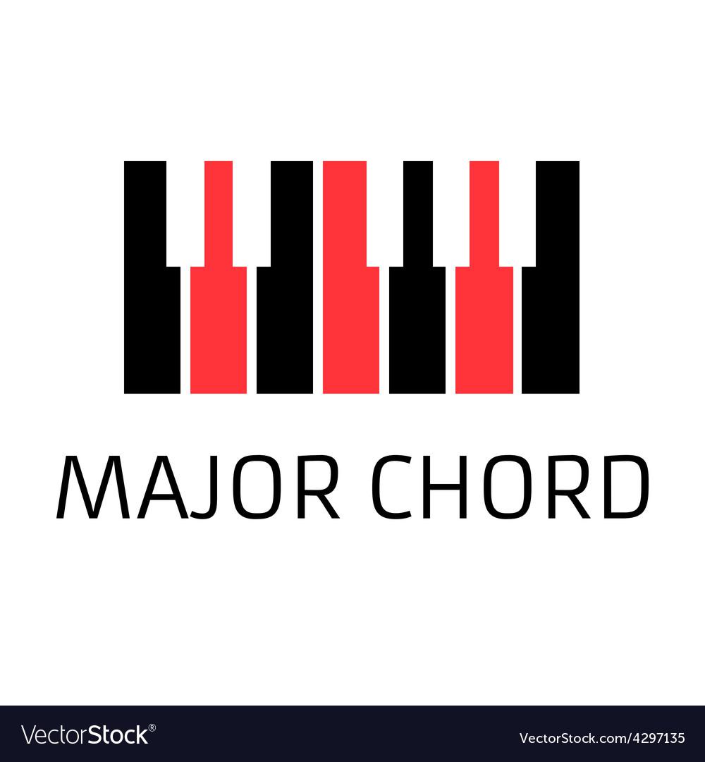 Minimalistic piano keyboard logo with major chord