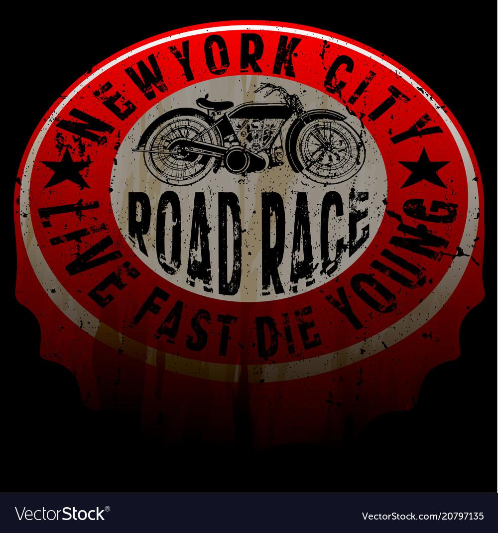 New york motorcycle tee print design