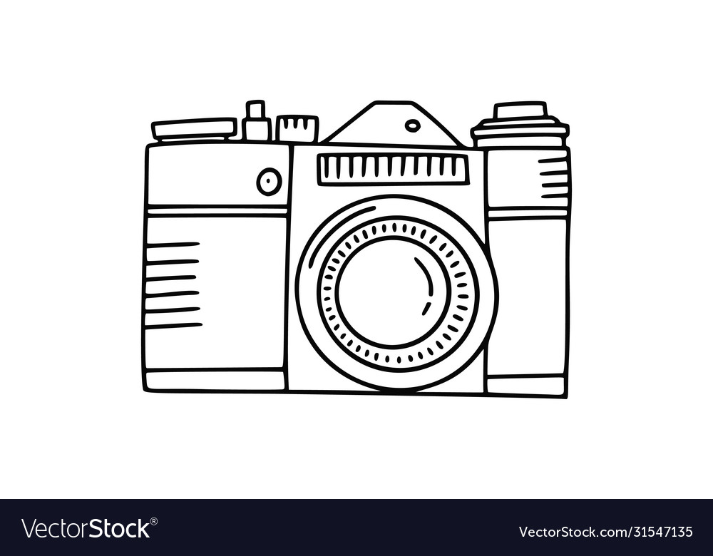 Photo camera doodle icon hand drawn icon photo