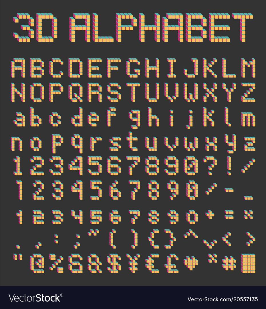 Pixel font in retro style bricks type