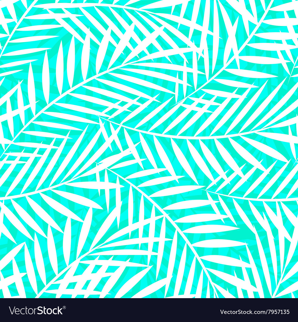 Tropical white and green palm tree leaves seamless
