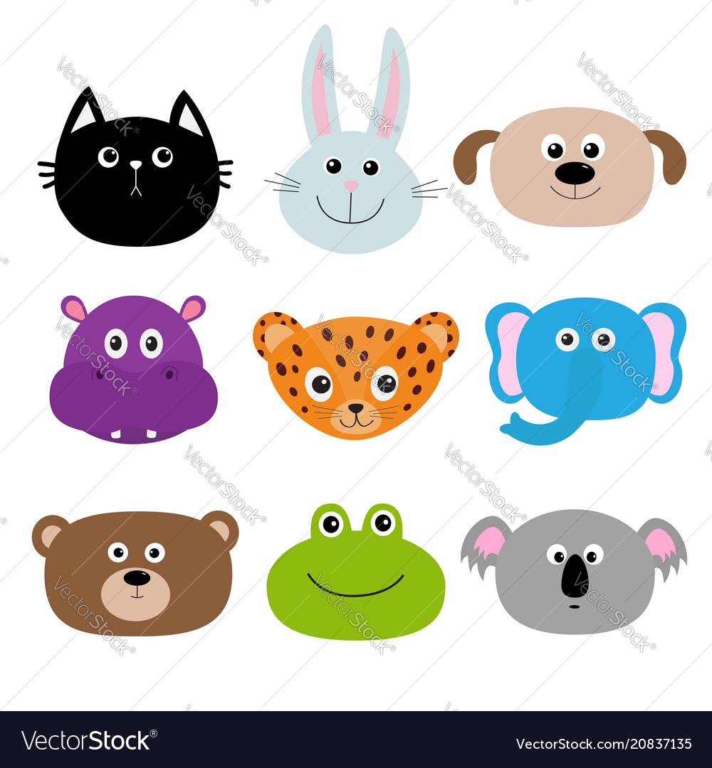 Zoo animal head face cute cartoon character set