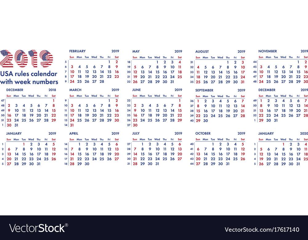 2019 american calendar weeks vector image