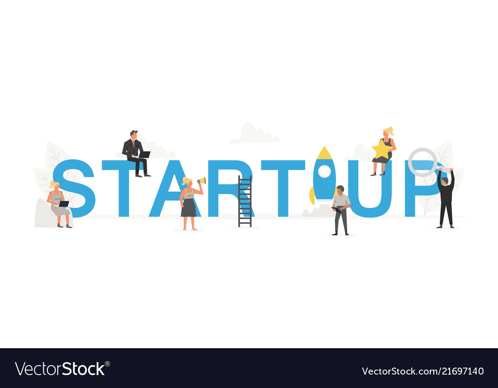 Big word startup with small working people around