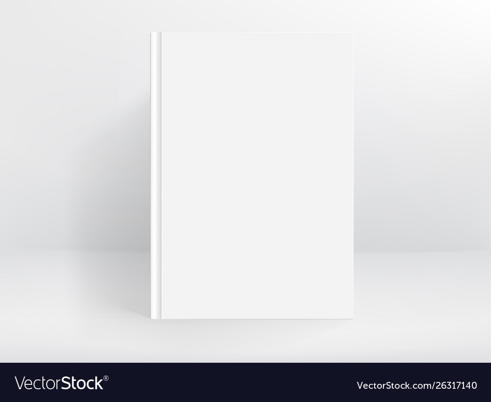Blank white hard cover book mockup