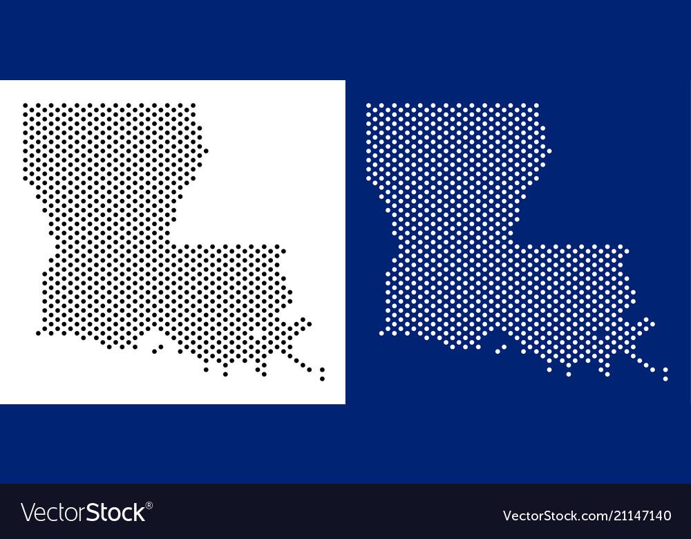 Dot louisiana state map Royalty Free Vector Image