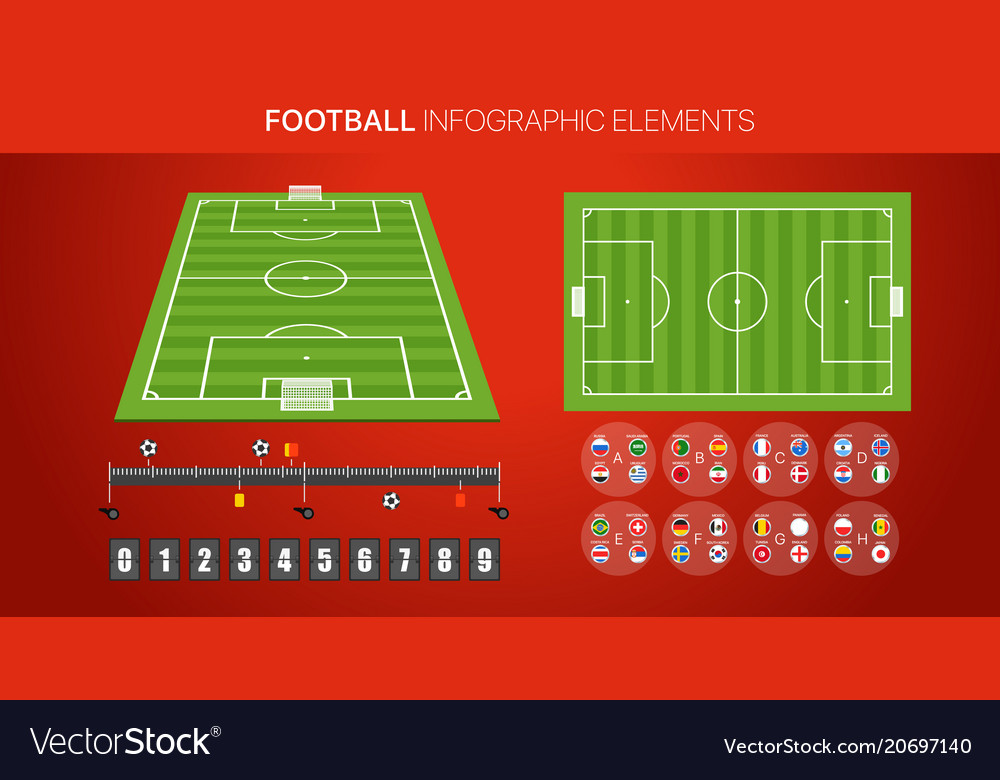 Football infographic elements soccer match