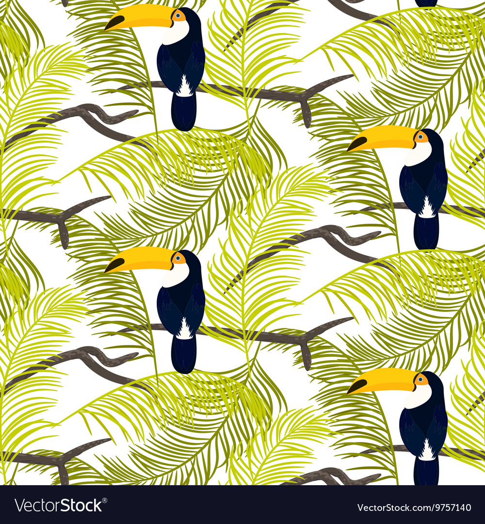 Green palm leaves and toucan bird seamless