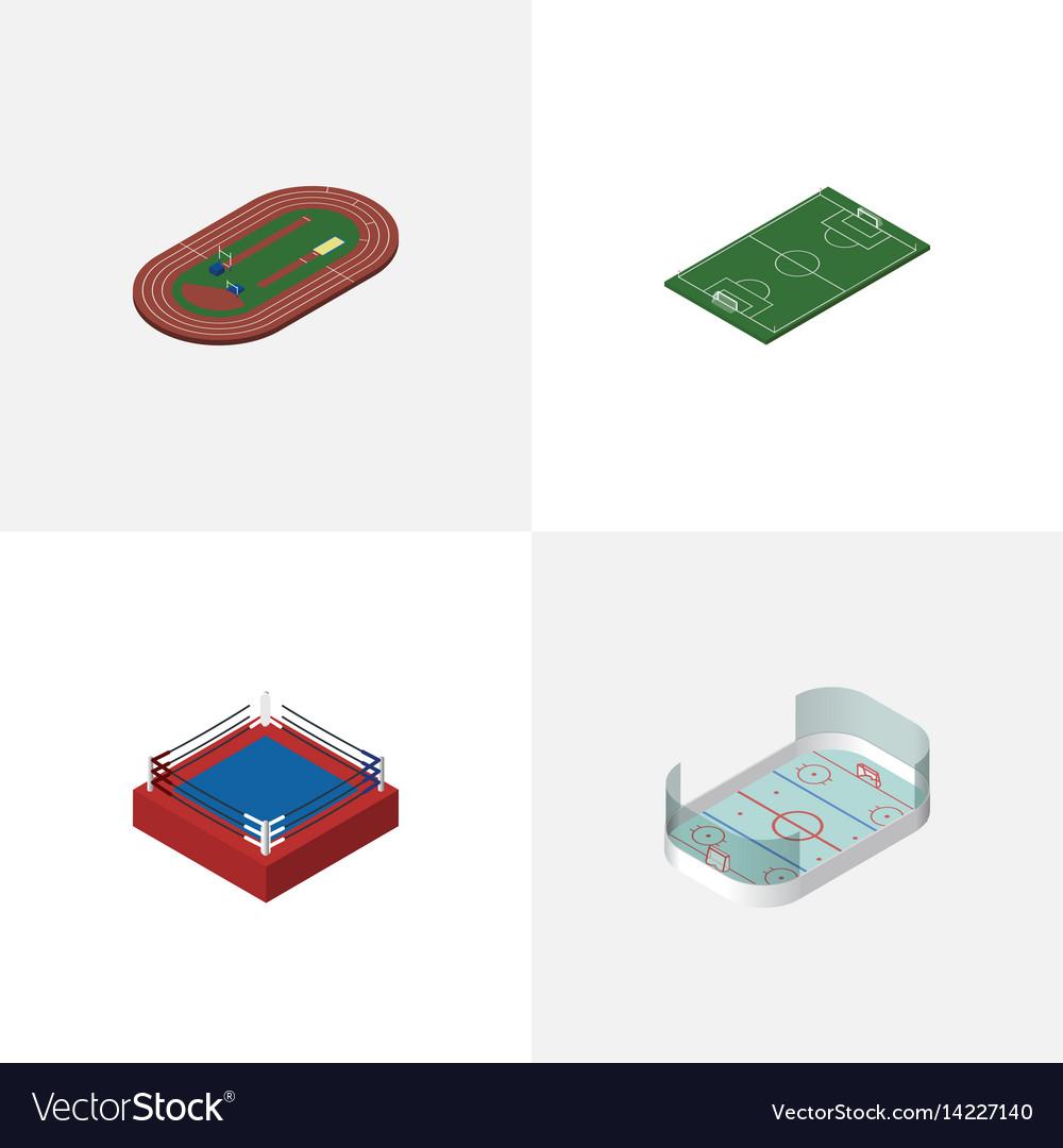 Isometric lifestyle set of run stadium fighting vector image
