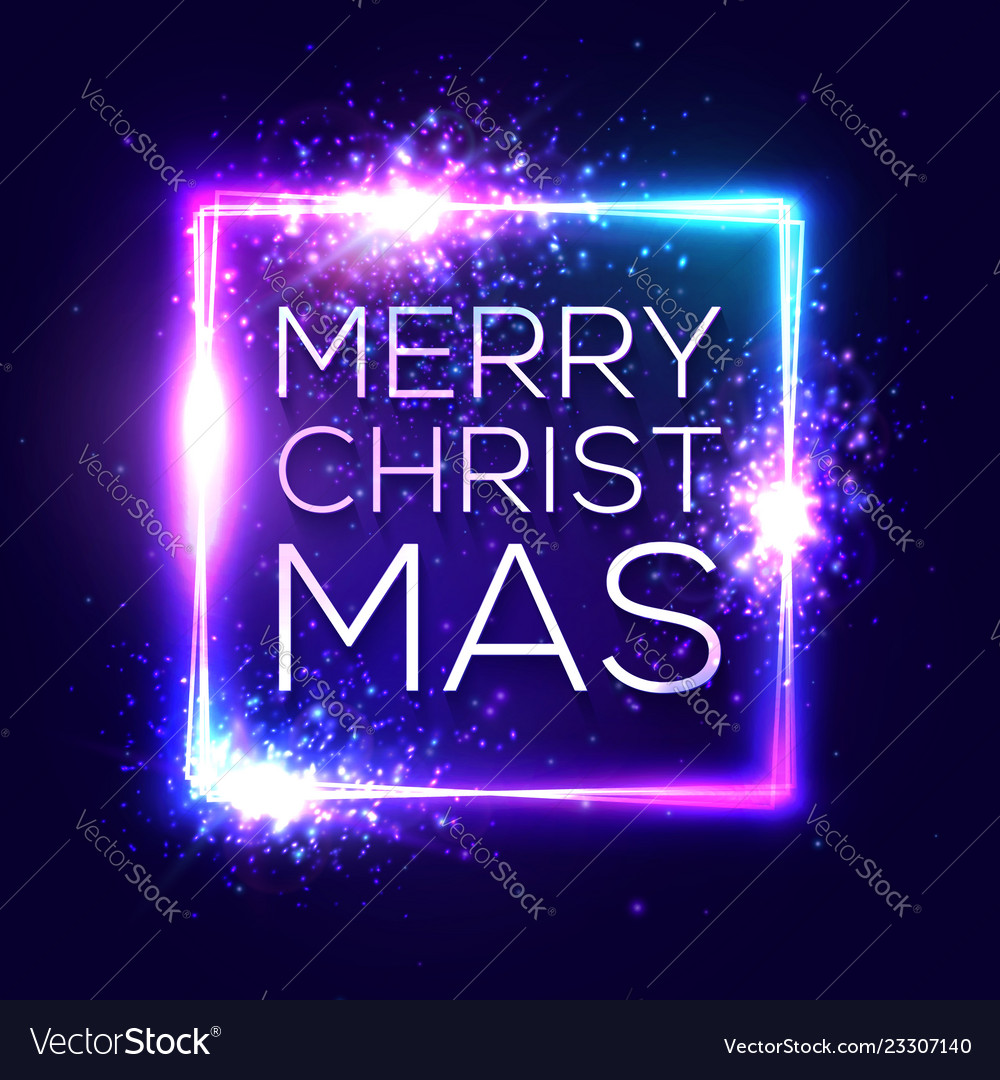 Merry christmas text on blue neon lights frame