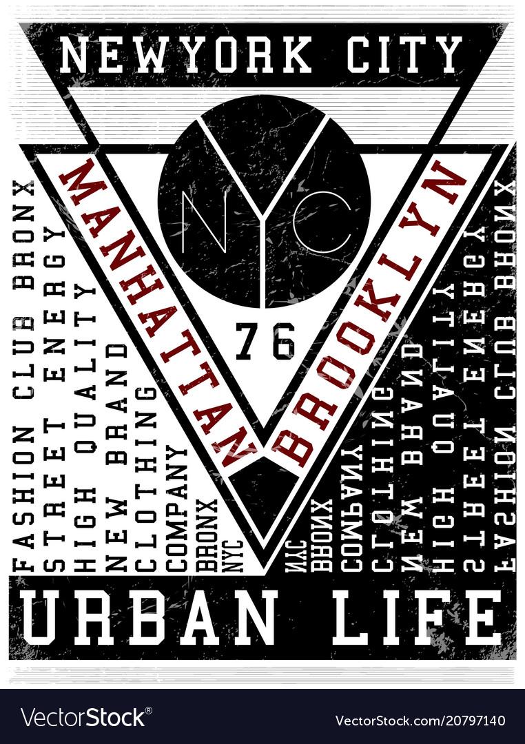 Nyc new york stock t-shirt design print design Vector Image ddf0e5b7eb0