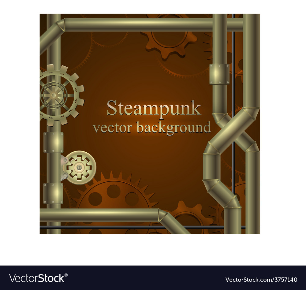 Retro background with gears Steampunk vector image