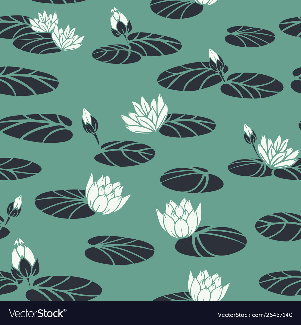 Retro water lilies in swan pond seamless
