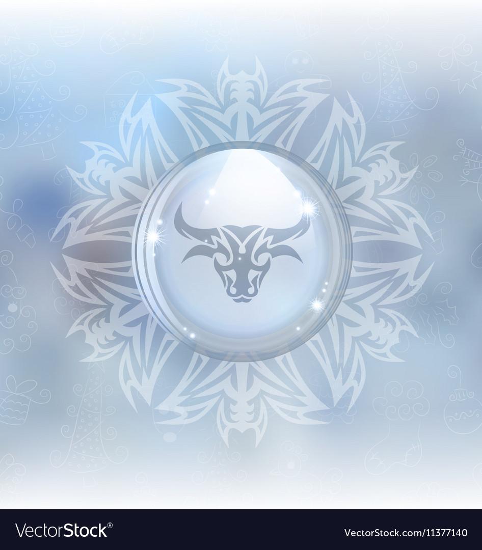 Snow globe with zodiac sign Taurus vector image