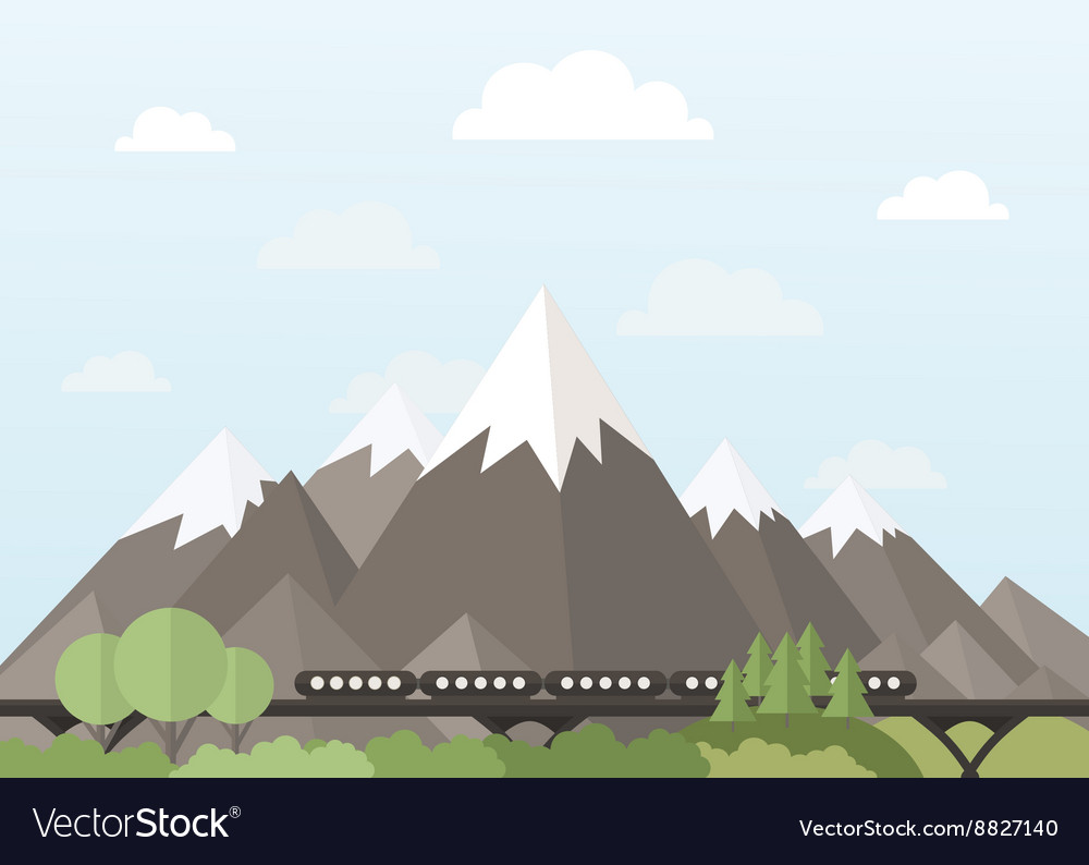 Train in the mountains vector image