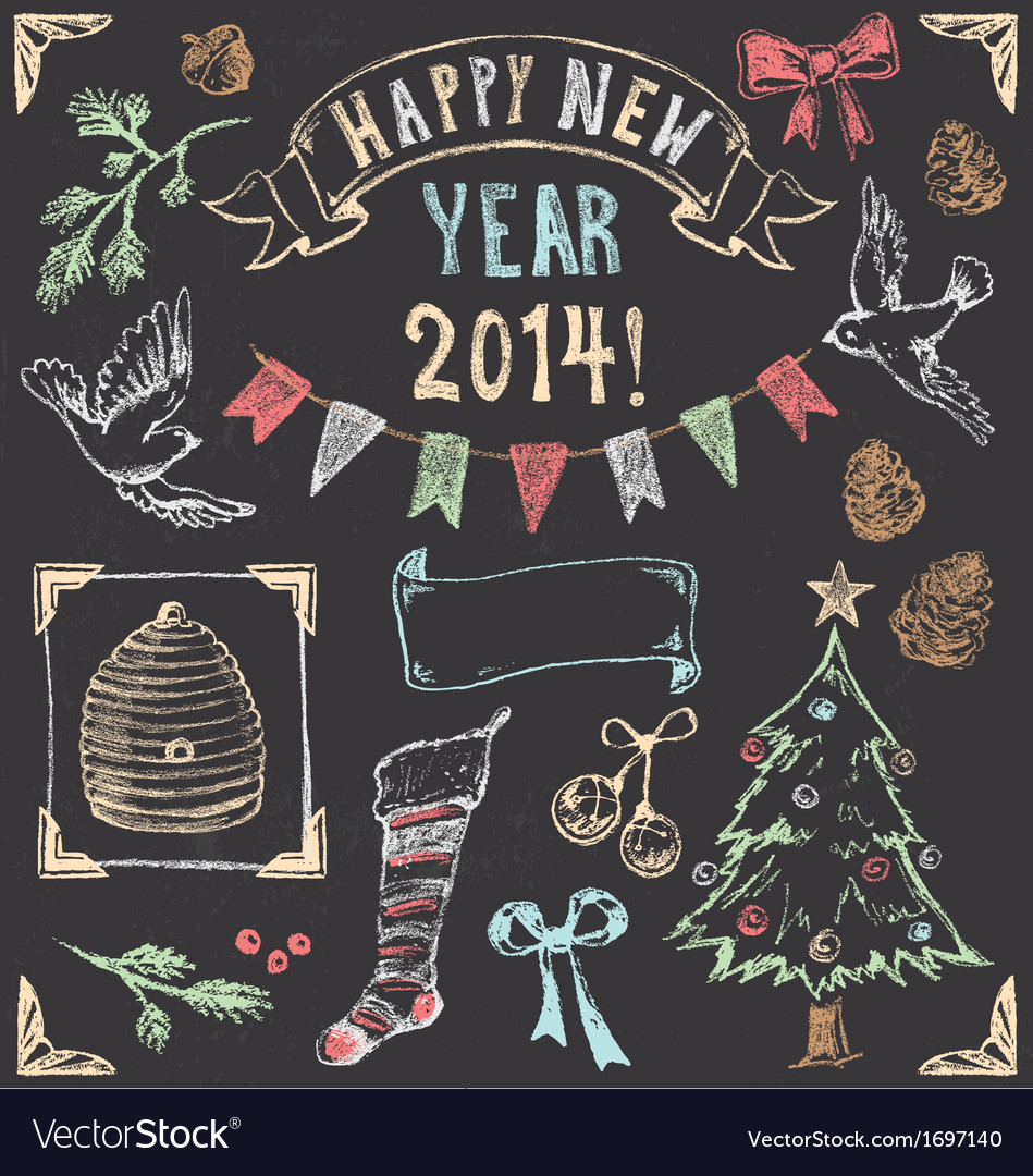 Vintage Christmas Chalkboard Hand Drawn Set 2 vector image