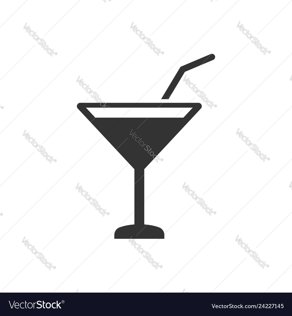 Alcohol cocktail icon in flat style drink glass