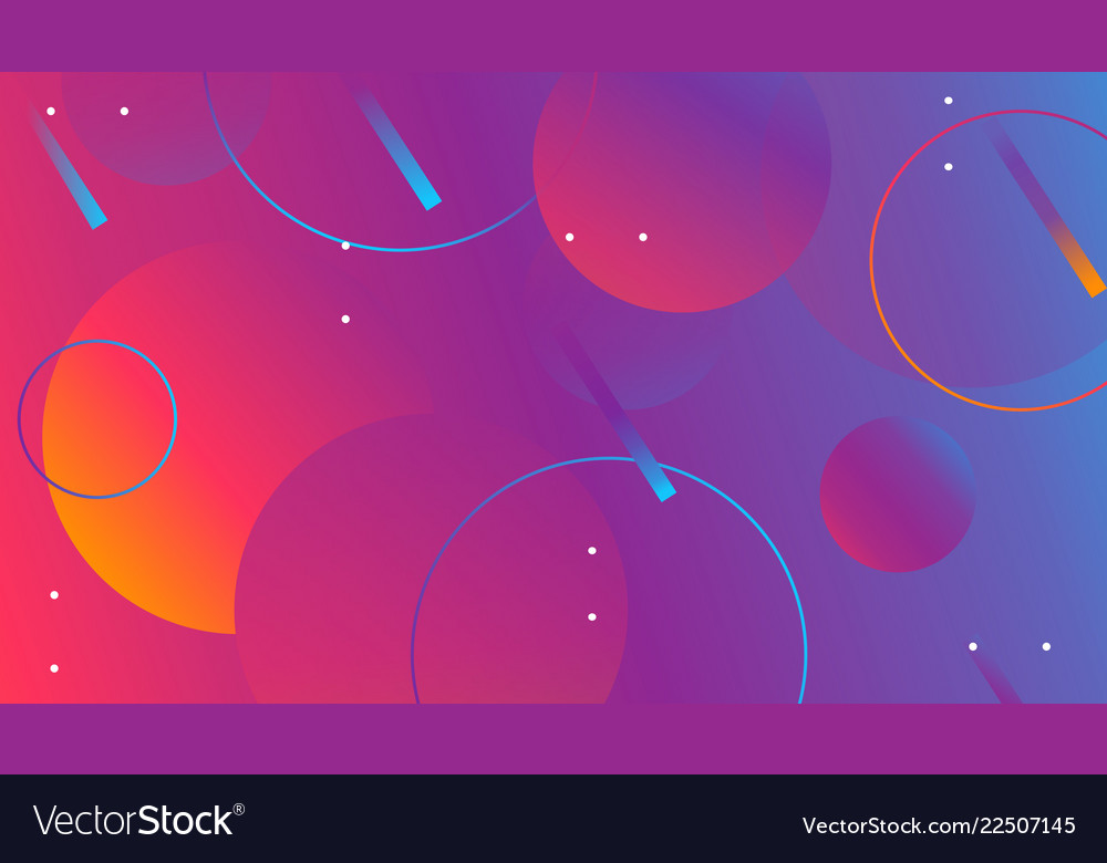 Colorful geometric shapes composition on gradient