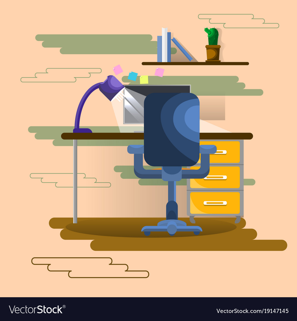 Empty workplace seat with laptop computer business vector image