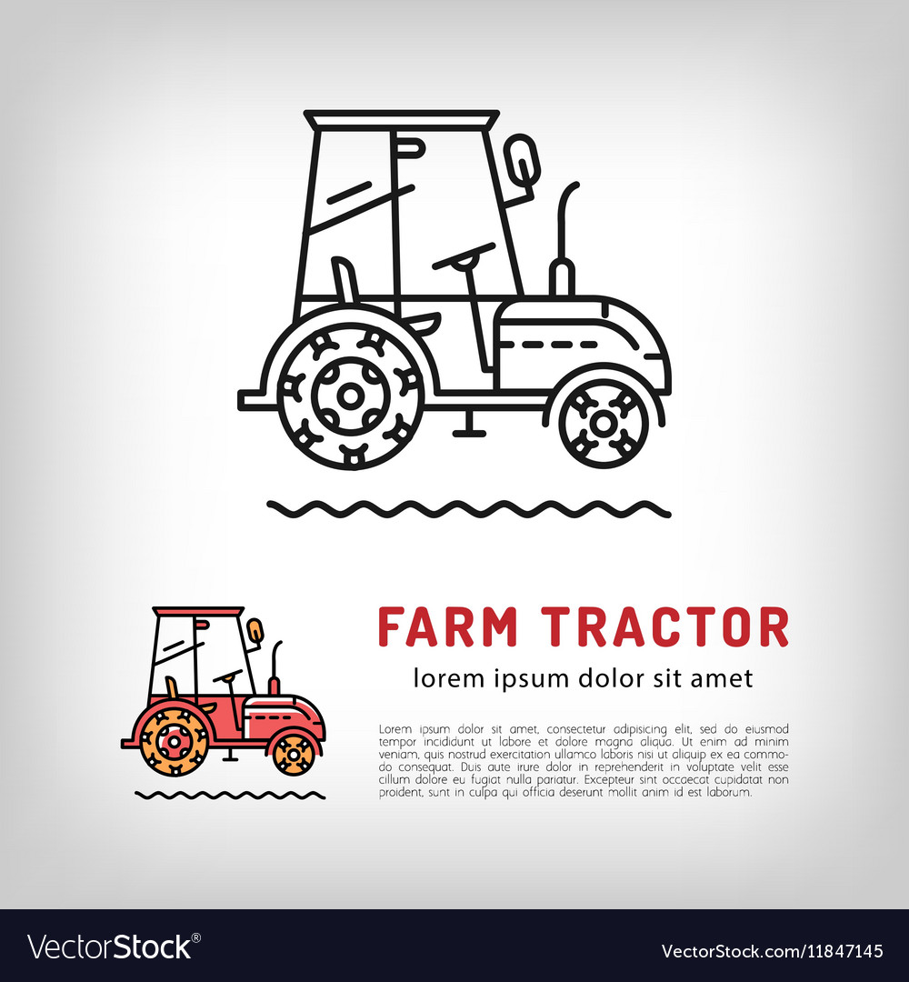Farm tractor cab icon line art style Isolated