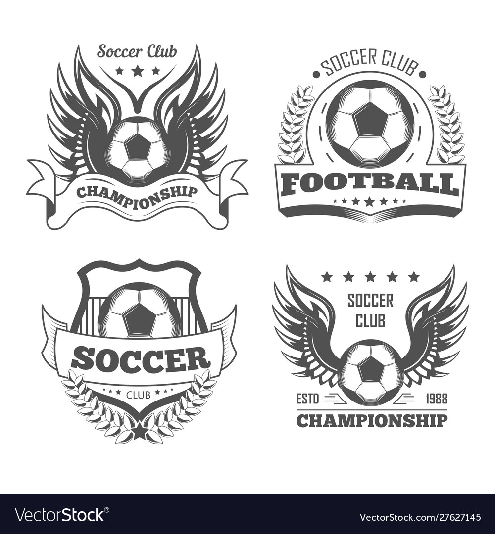 Football and soccer isolated icons team logo or