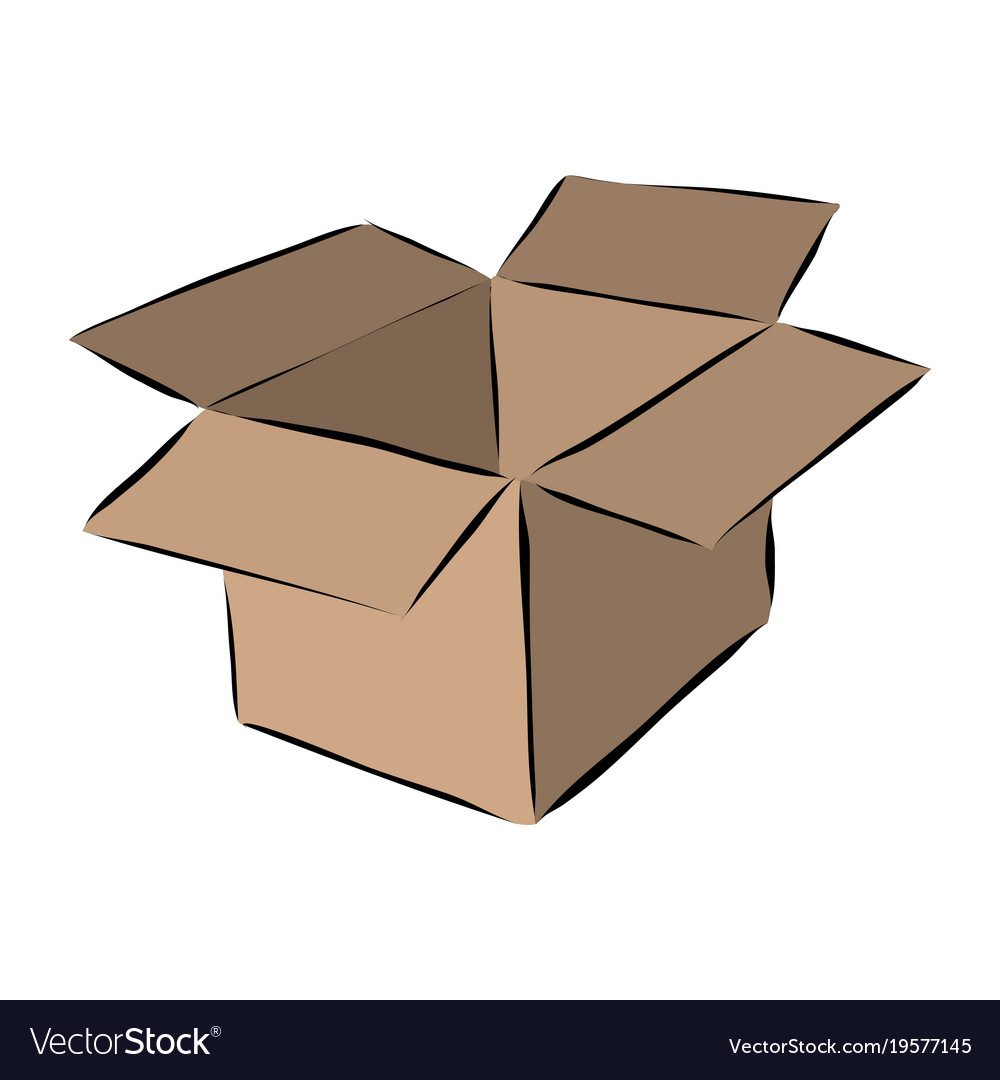 hand drawn cardboard moving box royalty free vector image