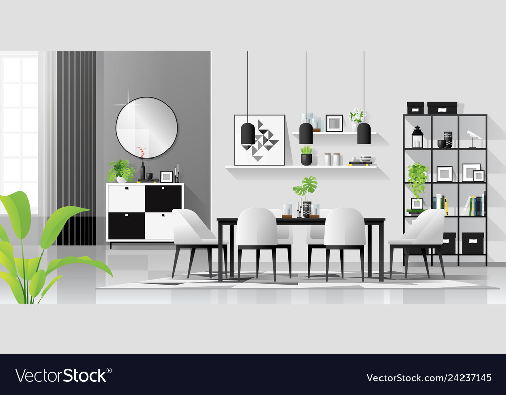 White Dining Room Royalty Free Vector Image, White And Black Dining Room