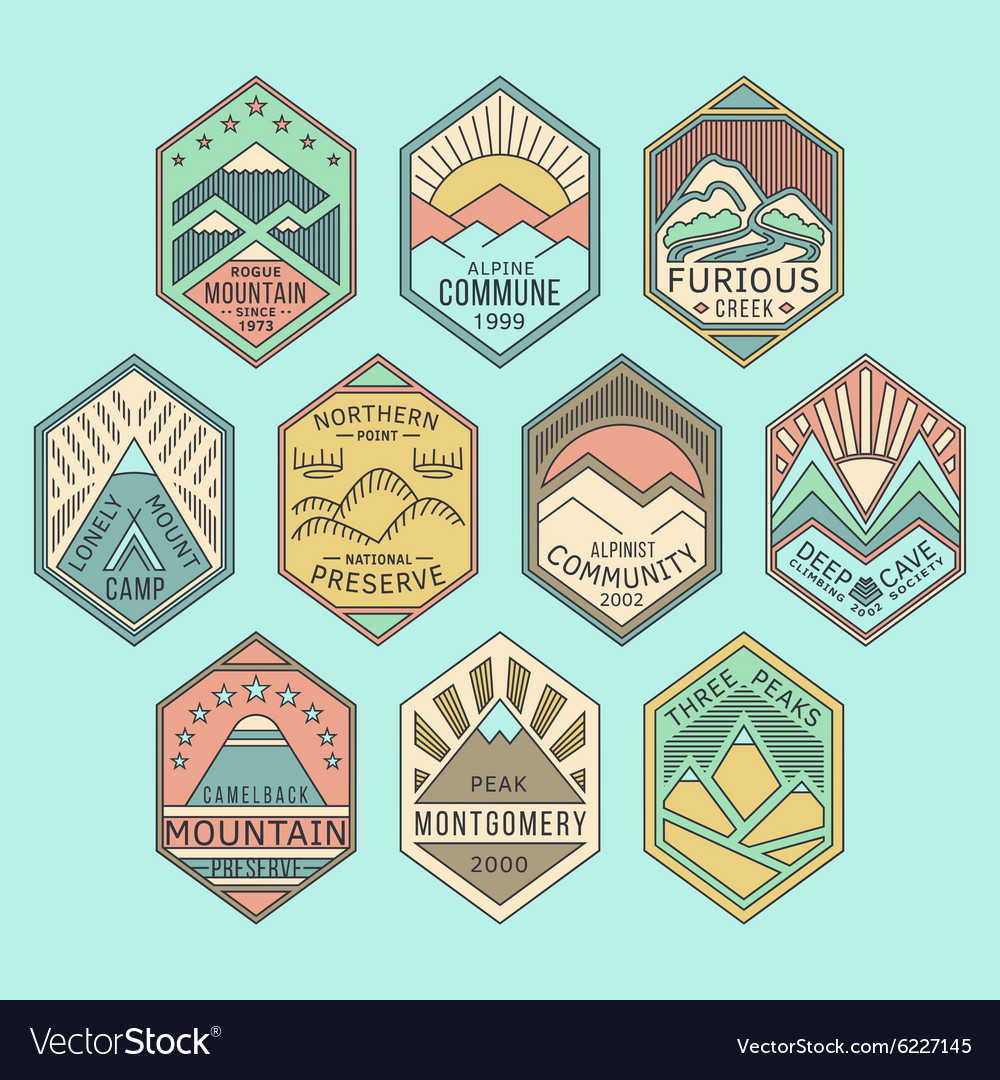 Mountain badges linear color