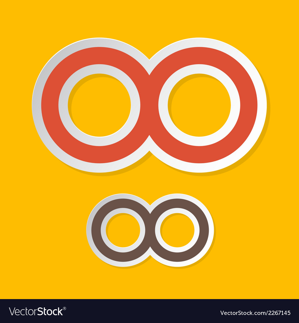 Paper Infinity Symbols on Yellow Background vector image