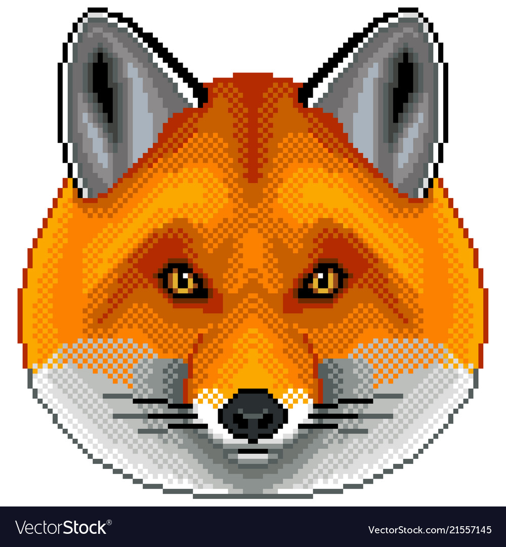 Pixel red fox portrait detailed isolated