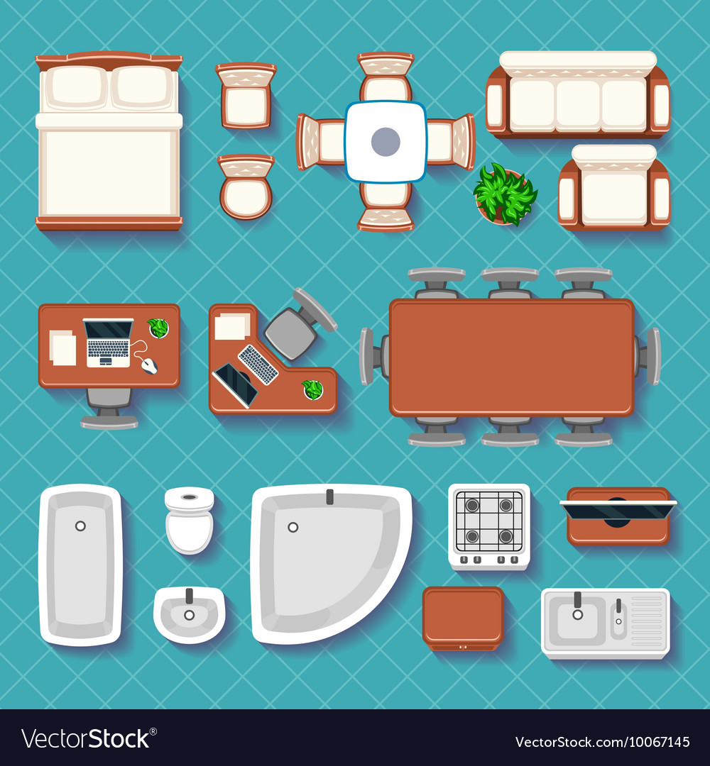 Top view interior flat icons