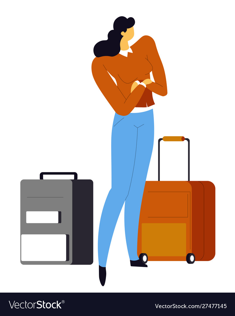 Woman with suitcases girl waiting for flight in