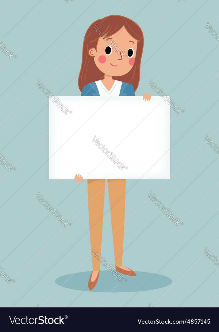Young brunette girl holding blank sign