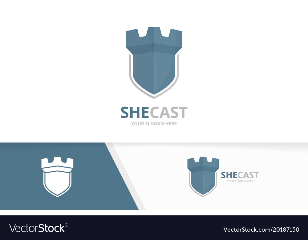 Castle and shield logo combination tower