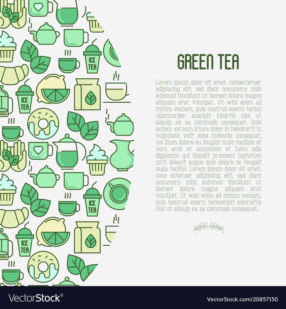 Green tea ceremony concept with thin line icons