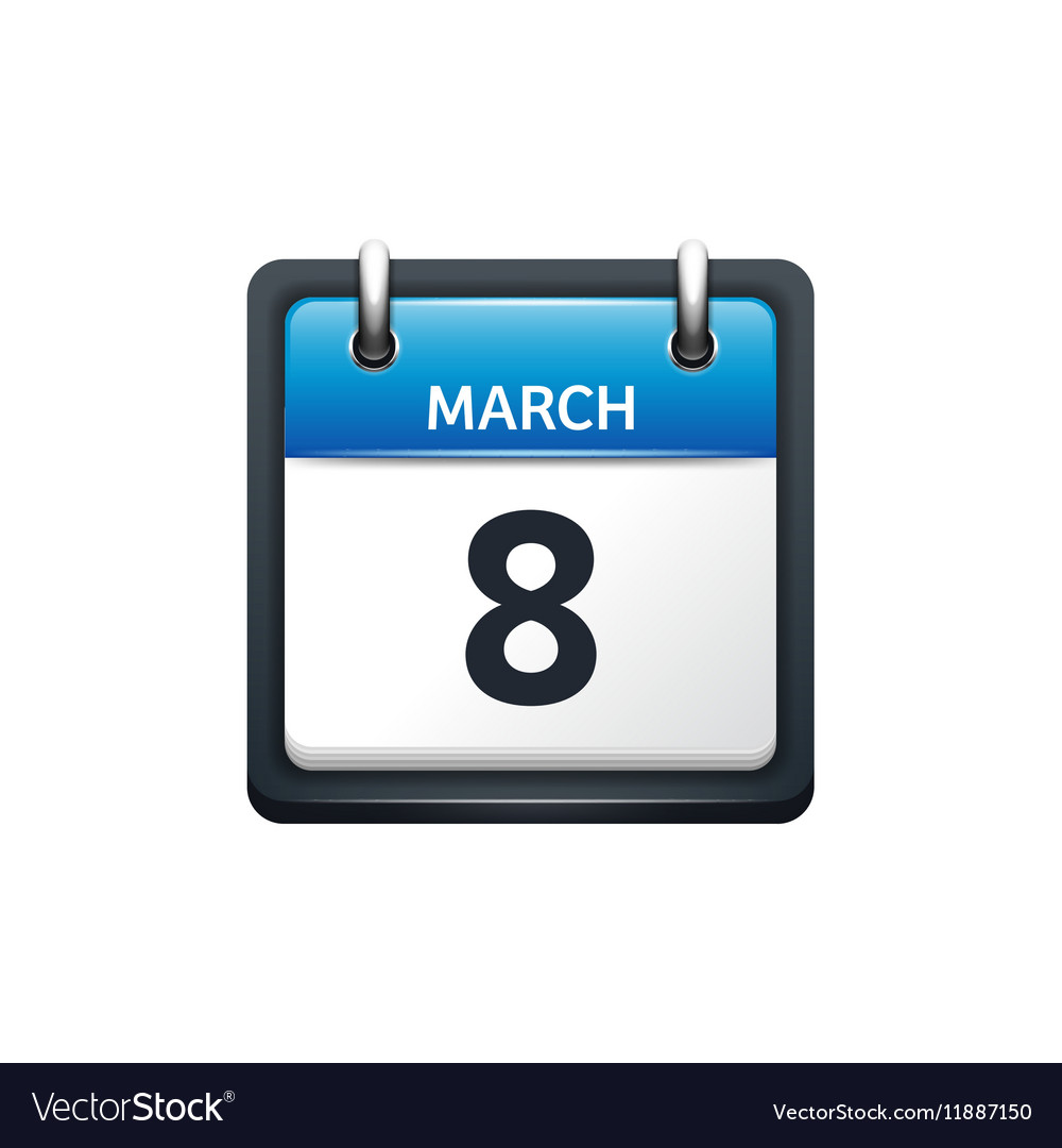 March 8 Calendar icon flat vector image